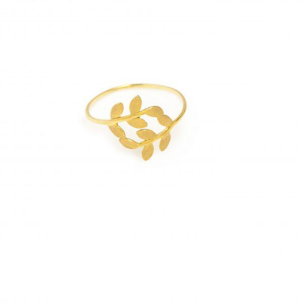 Olive -  - Η κλασική ελληνική ελιά κοσμεί το συγκεκριμένο χρυσό δαχτυλίδι! Λεπτεπίλεπτο, διακριτικό και με διαχρονική αξία!  Υλικό: Χρυσό 14κ