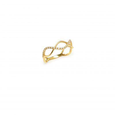 "DNA -  - Το χρυσό δαχτυλίδι ""DNA"" είναι σχεδιασμένο όπως και η ακριβής μορφή του. Αιθέριο με μια ελαφριά κίνηση που θα λάμπει πάνω σας! Θα το λατρέψετε αμέσως!  Υλικό: Χρυσό 14κ με λευκά ζιργκόν"