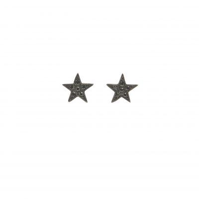 Estrella -  - Χρυσά σκουλαρίκια αστεράκια με μαύρα ζιργκονάκια.  Λεπτεπίλεπτα και εκλεπτυσμένα με ροκ στυλ και διάθεση! Υλικό:  Χρυσό 14κ με μαύρα ζιργκόν