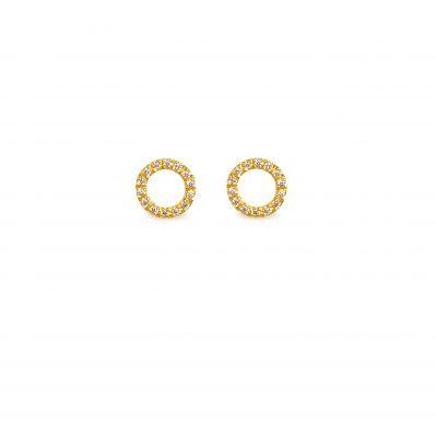 Roundabout -  - Κόμψα και πολύ στυλάτα κυκλικά χρυσά σκουλαρίκια 14κ με λευκά ζιργκονάκια. Ένα κόσμημα που δεν θα βαρεθείτε να το φοράτε μιας και παραμένει old time classic στη συλλογή σας. Υλικό: Χρυσό 14κ με λευκά ζιργκόν