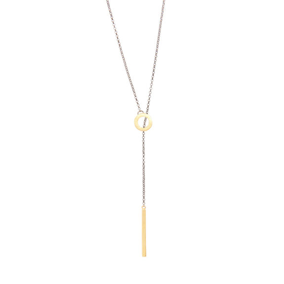 Tie -  - Ασημένιο επιχρυσωμένο κολιέ που προσαρμόζεται στο μήκος που θέλετε! Minimal γραμμή που το κάνει να ταιριάζει με όλα και θα το ευχαριστηθείτε όλες τις ώρες της ημέρας.  Υλικό: Ασημένιο επιχρυσωμένο 925 με ασημένια οξειδωμένη αλυσίδα