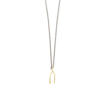 """One for me one for you -  - Κοντό χρυσό 14κ κολιέ με σχήμα """"γιάντες"""" που συμβολίζει την ένωση αλλά και το χωρισμό! Διακριτικό και πολύ ιδιαίτερο. Υλικό: Χρυσό 14κ με ασημένια οξειδωμένη αλυσίδα"""