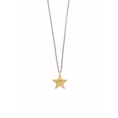 Lucky Star -  - Κοντό κολιέ με χρυσό αστεράκι 14κ και λευκό ζιργκόν πάνω του. Φορέστε το και νιώστε τυχερή! Υλικό: Χρυσό 14κ με λευκό ζιργκόν σε ασημένια οξειδωμένη αλυσίδα