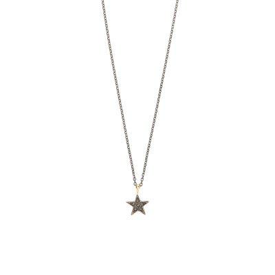 Estrella necklace -  - Κοντό κολιέ χρυσό 14κ με μαύρα ζιργκόν. Δυναμικό και με χαρακτήρα, ένα κόσμημα που σίγουρα θα λατρέψετε να φοράτε! Υλικό: Χρυσό 14κ με μαύρα ζιργκόν σε ασημένια οξειδωμένη αλυσίδα