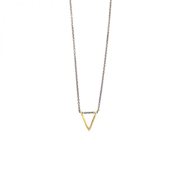 Sign necklace -  - Κοντό κολιέ χρυσό 14κ. Απλό, λιτό, γεωμετρικό, ευκολοφόρετο που φοριέται από το πρωί ως το βράδυ! Υλικό: Χρυσό 14κ με ασημένια οξειδωμένη αλυσίδα
