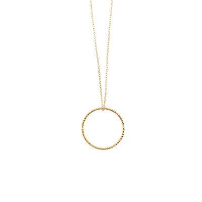 Twisted Circle -  - Μακρύ κολιέ με κομψό χρυσό twisted κύκλο 14κ. Λιτή γραμμή σε ένα κόσμημα ανάλαφρο και διαχρονικό! Υλικό: Χρυσό 14κ με ασημένια επιχρυσωμένη αλυσίδα