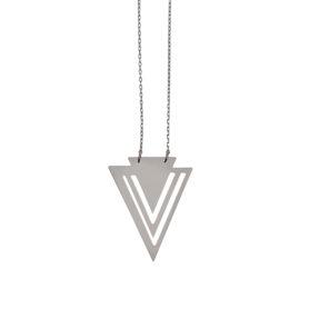 Hope triangle -  - Μακρύ κολιέ, απόλυτα γεωμετρικό με τρίγωνο από λευκό μέταλλο βουτηγμένο σε χρυσό ή μαύρο χρυσό.  Υλικό: Λευκό μέταλλο βουτηγμένο σε χρυσό ή μαύρο χρυσό