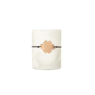 Lucky Squares Bracelet Pink -  - A square symbolizes strength and stability! In this year's design, one can distinguish the eights used to form a rhombus, a symbol of completeness for a year full of strength, stability and wholeness in all our relationships!  An easy-to-wear bracelet that holds a special meaning, which you'll end up wearing all year long!  Material: White metal dipped in gold, black gold or pink gold. It comes with a colored string. Pick between: black, gray, brown, dark red, beige string.