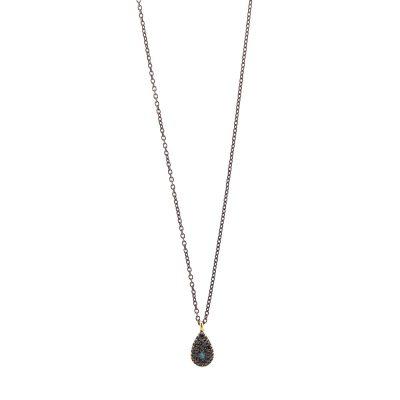 Black diamond eye necklace -  - <div>Κοντό κολιέ 14κ σε σχήμα drop με μαύρη οξειδωμένη αλυσίδα. Ο συνδυασμός μαύρων και μπλε ζιργκόν δημιουργούν ένα ιδιαίτερο και κομψό μάτι. Μπορεί να φορεθεί μόνο του ή και με περισσότερα κοσμήματα.</div> <div></div> <div></div> <div>Μήκος: 40 cm</div> <div></div> <div>Υλικό: χρυσό 14Κ</div>