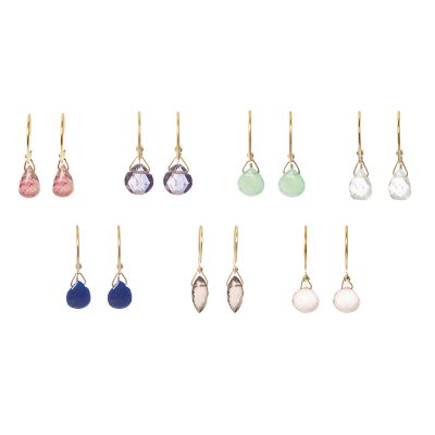 Precious stones earrings -  -     Υλικό: Χρυσό 14κ με πολύτιμες πέτρες