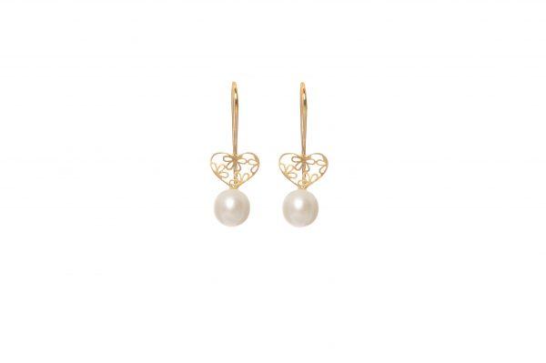 pearl & love earrings -  -