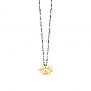 Eyelashes necklace -  - Κοντό κολιέ με χρυσό 14κ στοιχείο φτιαγμένο στο χέρι από τη Μάγια. Ένα κόσμημα εκλεπτυσμένο και ιδιαίτερο για να ξεχωρίσει πάνω σας και να δώσει μια funky διάθεση. Το ''eyelashes'' είναι ιδανικό να το συνδυάσετε και με πιο μακριά κολιέ όπως το ''sailor moon'' και το ''pinpoint'' της συλλογής μας για να πετύχετε το τέλειο layering.
