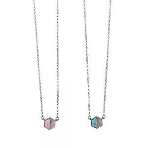 Half me - Half you Necklace - Ασημένιο οξειδωμένο με γαλάζιο 4bbd2dc82aa