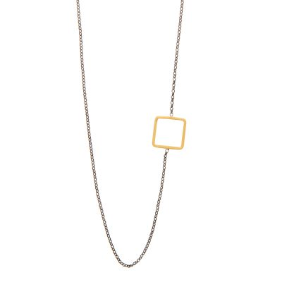 Sideways Necklace -  - <p>A geometrical necklace made of 14K gold with details on the side that give it an even more impressive look. The oxidized chain made of silver 925 bring to it the perfect amount of contract and make it wearable to any occasion. Feel free to combine it with shorter or longer necklaces from our colleciton, such as Daisie, Cube, Gold Pearl or even Iokasti. With minimalistic mood and a simple design, it is a jewelry piece that will surely become one of your favorites for your everyday looks.</p>