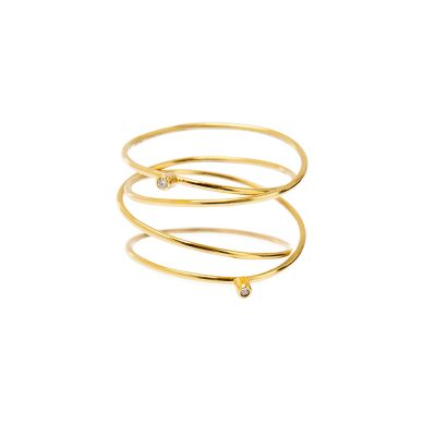 Hula Hoop Ring -  - Elegant luxury portrayed through simple lines that create a spiral made of two brilliant stones.