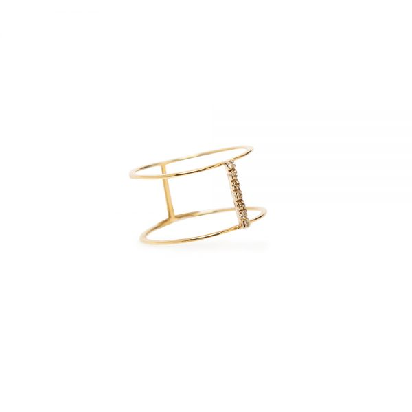 Sparkle On Top Ring -  - An elegant, simple and lightweight design combined with precious brilliant stones giving off a sense of unparalleled beauty and modern luxury. The minimal strict lines make up this unique ring that features precious brilliant stones.