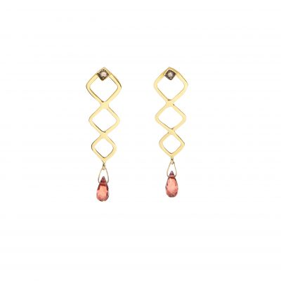Tiffany Earrings -  - Beautiful 18K gold pendant earrings. With precious brilliant gem stones attached to the ear and forming multiple rhombus that result in a drop made of a precious ruby stone. These earrings are so special! You can wear them with any outfit from day to night.