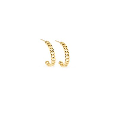 Rock n Roll Earrings -  - 14Κ gold earrings formed in a semi-circular knitted chain. Impressive and modern, they will give a dynamic note to your look.
