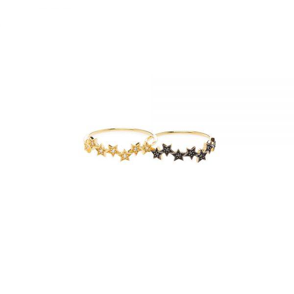 Dazzle Ring -  - Χρυσό δαχτυλίδι 14Κ με αστεράκια και ζιργκονάκια. Τόσο λαμπερό , ρομαντικό και εορταστικό αυτότο δαχτυλίδι θα γίνει το αγαπημένο σου! Μπορείς να συνδυάσεις και τα δύο μαζί ή δίπλα δίπλα στις 2 αποχρώσεις των ζιργκόν,σε λευκό και μαύρο για πιο εντυπωσιακό αποτέλεσμα. Μη διστάσεις να κάνεις και περισσότερους συνδυασμούς όπως με τοδαχτυλίδι <<double trouble>> ή το <<mark>> από τη συλλογή μας!