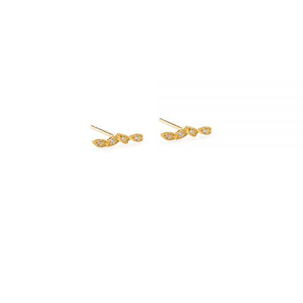 Glory Earrings -  - Σκουλαρίκια χρυσά 14Κ διακριτικά σχεδιασμένα με έμφαση στη λεπτομέρεια. Μικρά αλλά τόσο κομψά φυλλαράκια μεζιργκόν θα δώσουν ένα κλασικό αποτέλεσμα στο ντύσιμό σου.